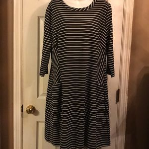 Black and White striped A line dress with pockets